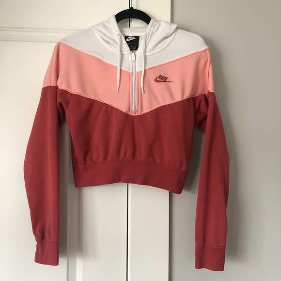 Cropped Pink 3/4 Zip Pullover